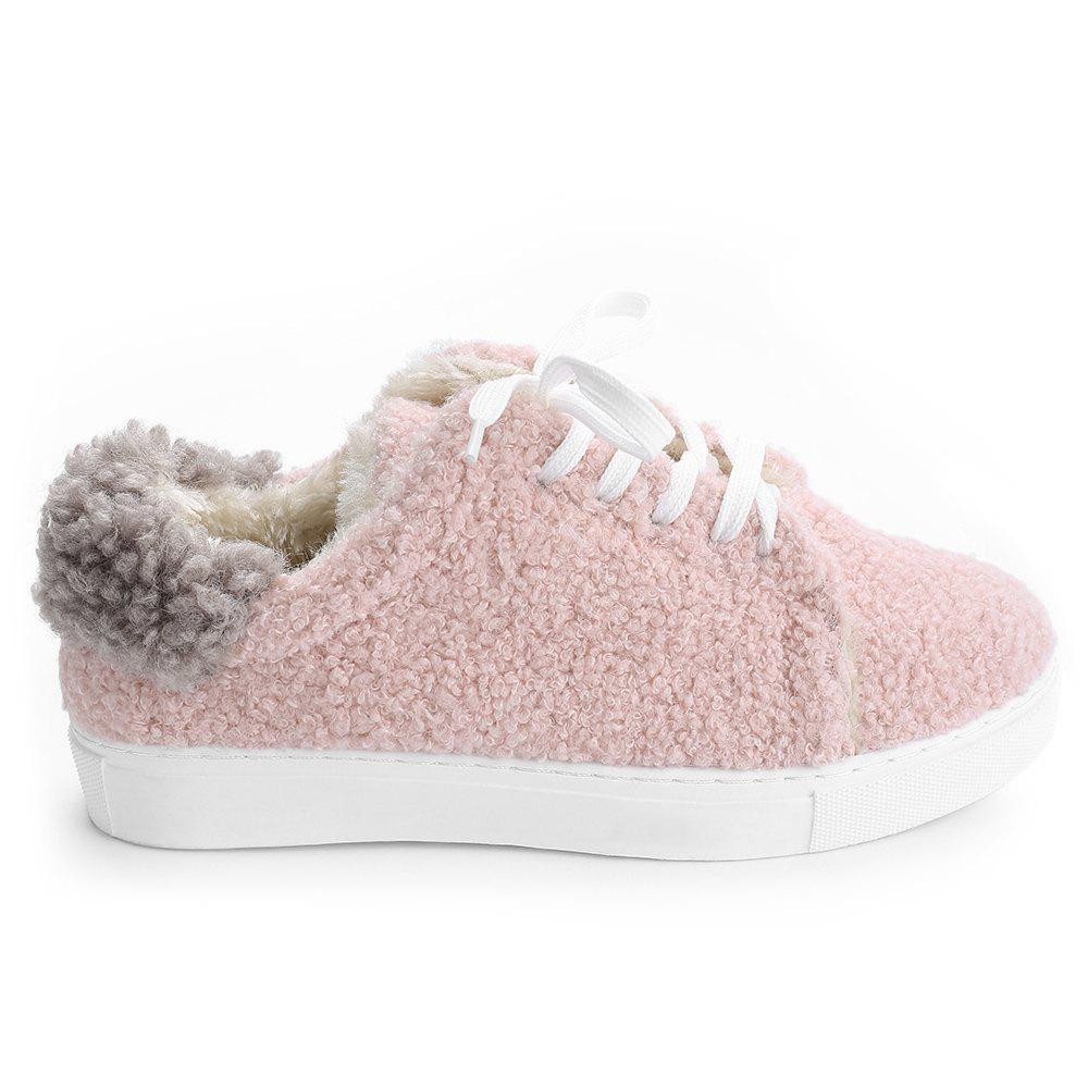 Lace Up Faux Fur Skate Shoes - PAPAYA 38