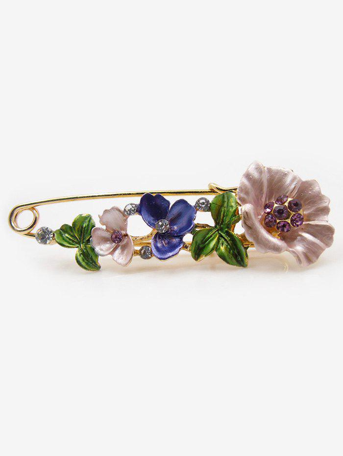 Artificial Diamond Flower Brooch Pin - PURPLE