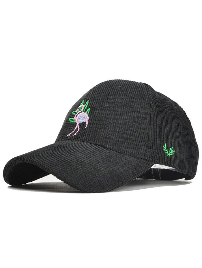 Vintage Phoenix Bird Embroidery Corduroy Graphic Hat - BLACK