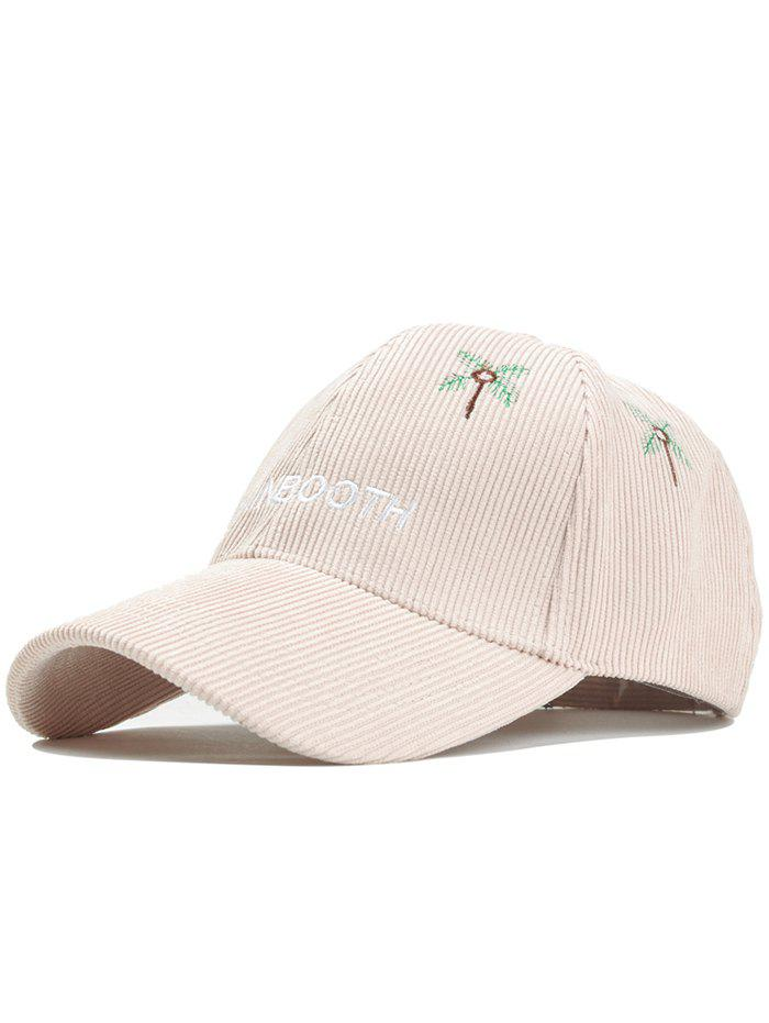Letter and Coconut Tree Embroidery Adjustable Corduroy Baseball Hat - BEIGE