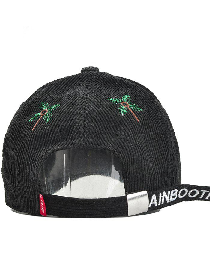 Letter and Coconut Tree Embroidery Adjustable Corduroy Baseball Hat - BLACK