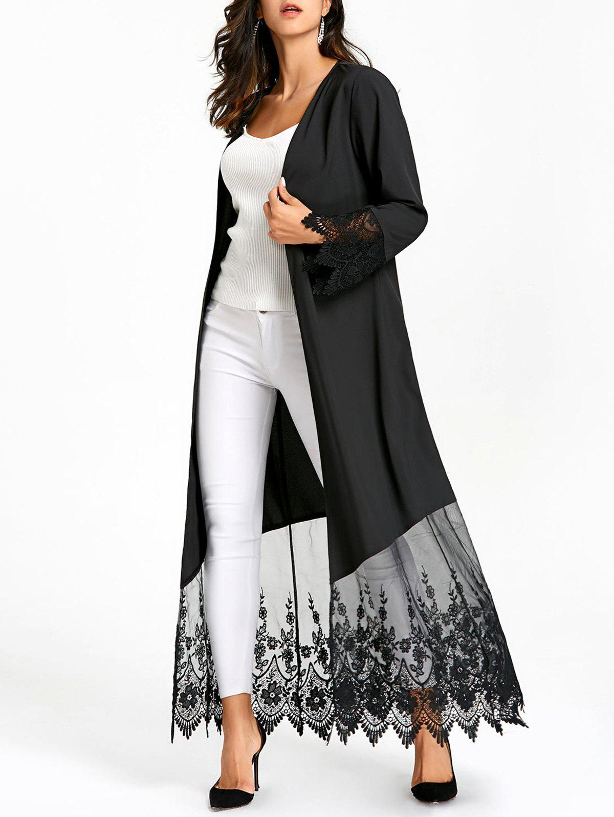 Open Front Lace Insert Long Coat - BLACK L