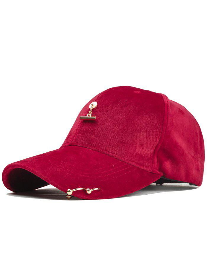 Outdoor Metal Bar Decorated Corduroy Baseball Cap - RED