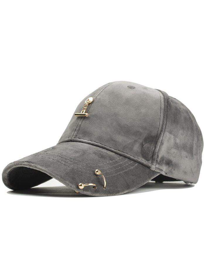 Outdoor Metal Bar Decorated Corduroy Baseball Cap - GRAY