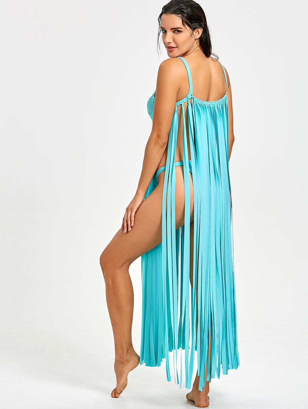 Fringe Crochet Knit Cover-up with G-string - LAKE BLUE ONE SIZE