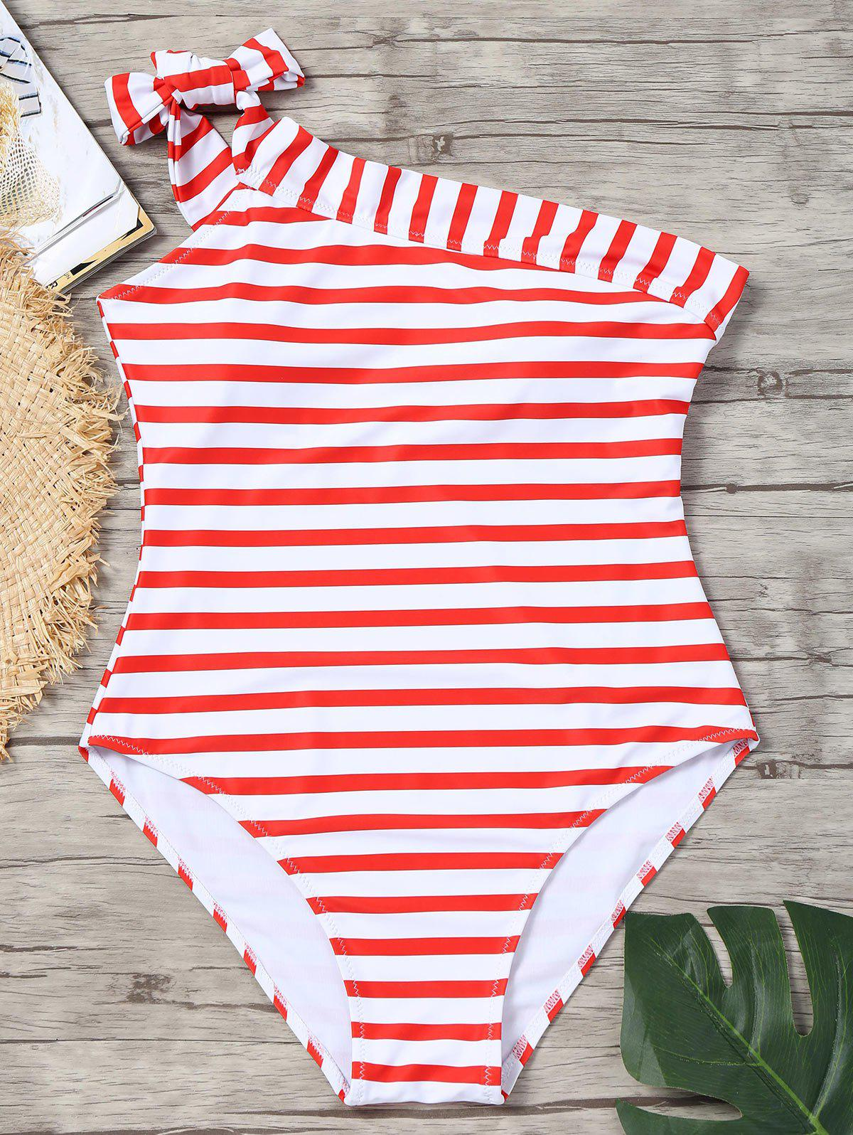 One Piece Striped Skew Collar Swimsuit - RED/WHITE L