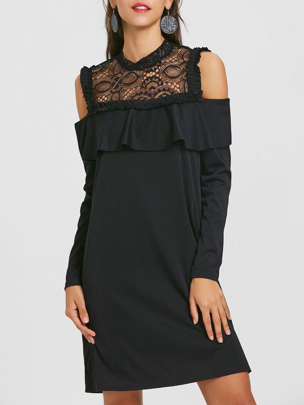 Lace Trim Open Shoulder Ruffle Dress - BLACK M