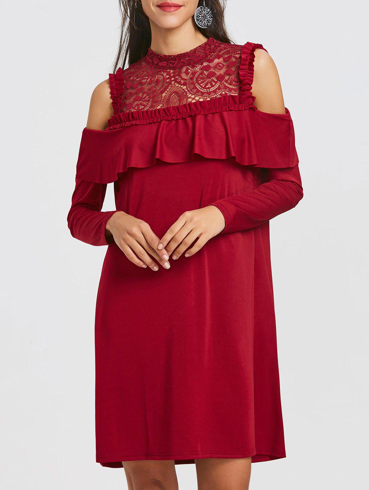 Lace Trim Open Shoulder Ruffle Dress - WINE RED S