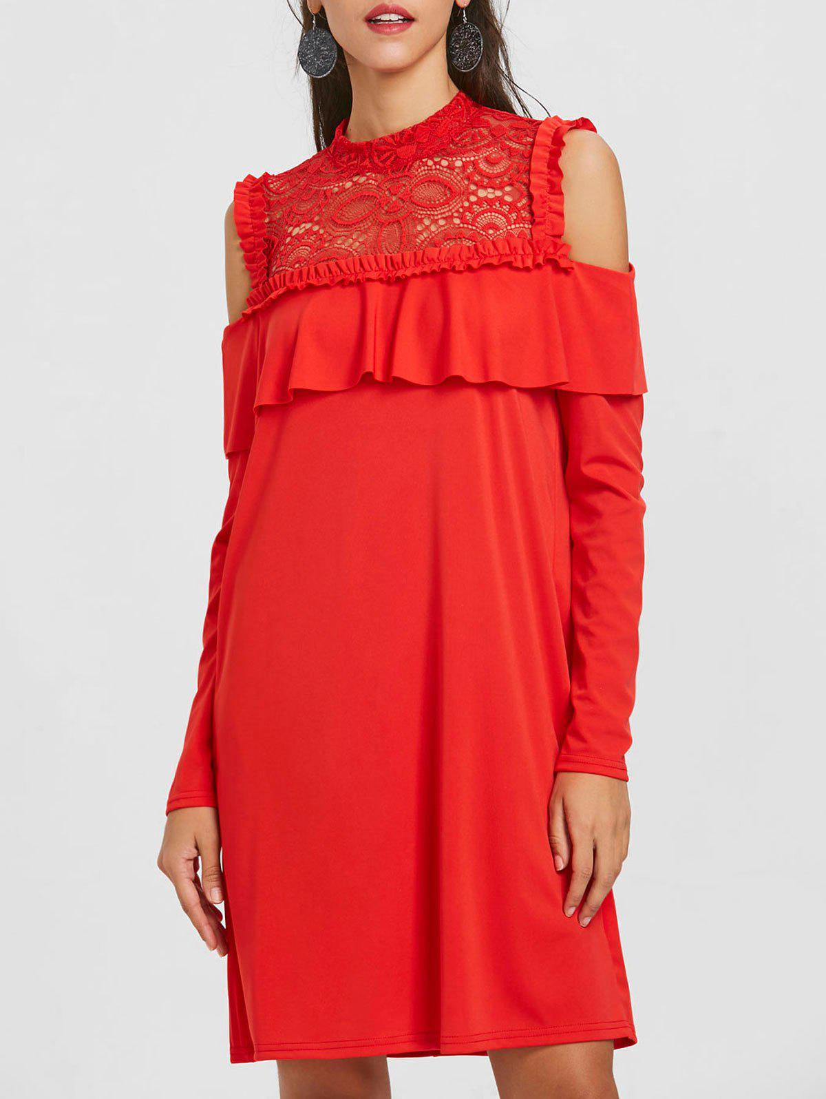 Lace Trim Open Shoulder Ruffle Dress - RED L