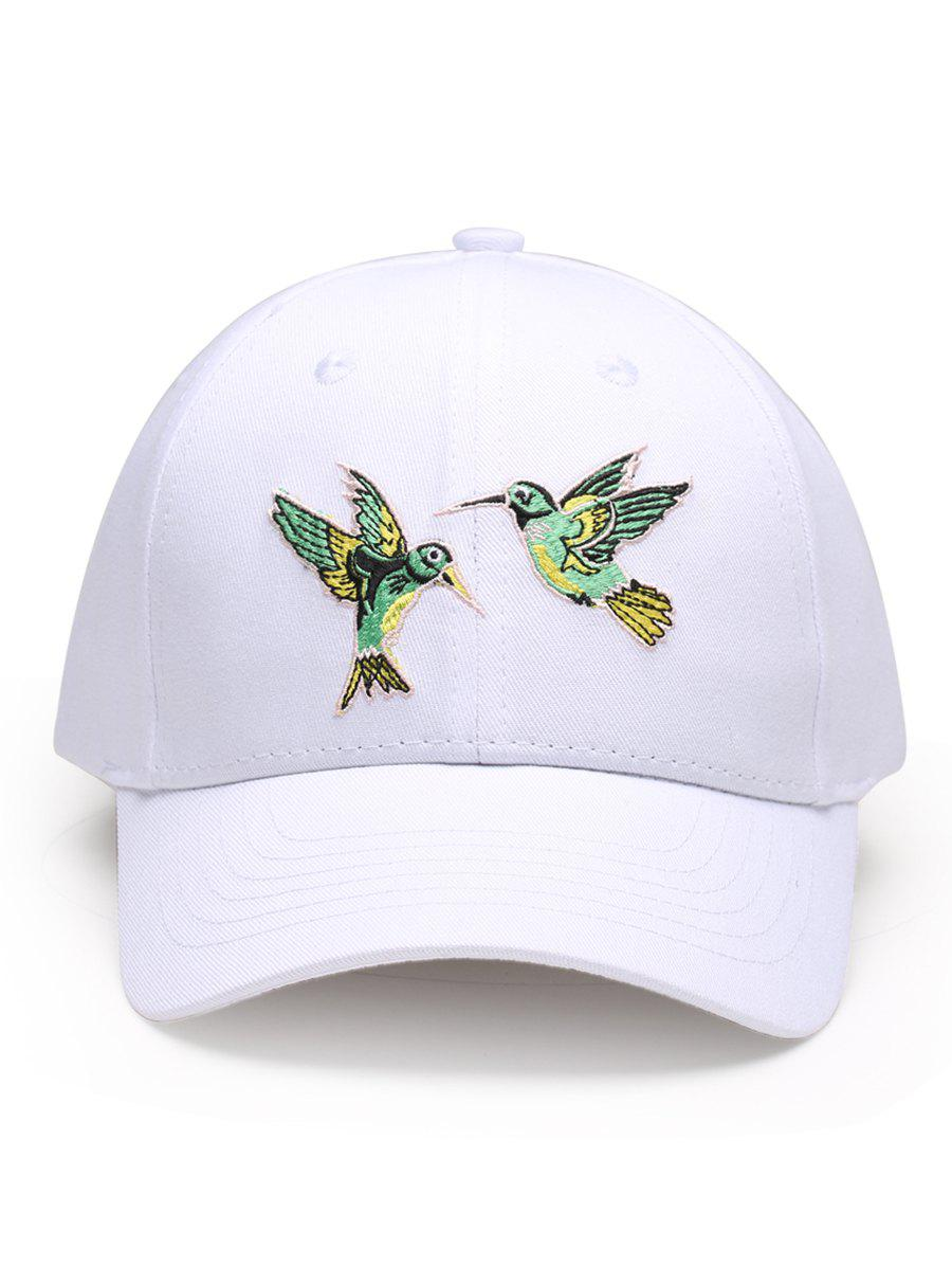 Outdoor Birds Embroidery Decoration Baseball Cap - WHITE
