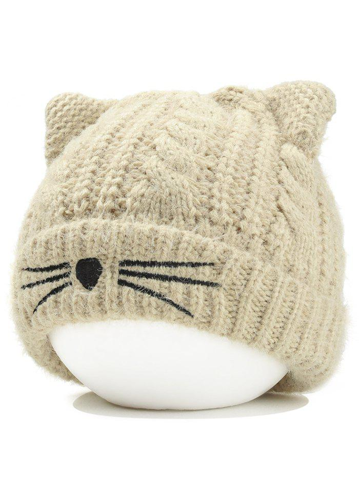 Funny Kitty Ear Decoration Knitted Lightweight Beanie - BEIGE
