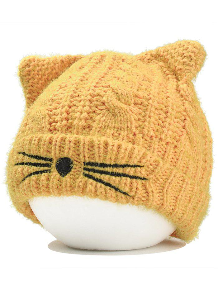 Funny Kitty Ear Decoration Knitted Lightweight Beanie - YELLOW