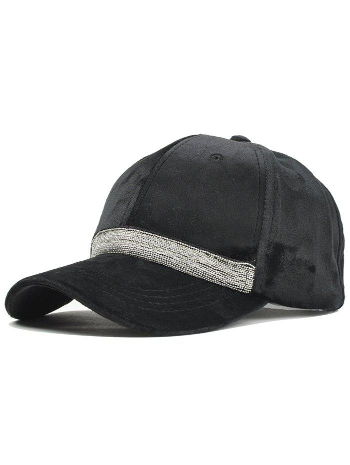Beaded Chain Decorated Corduroy Adjustable Baseball Hat - BLACK