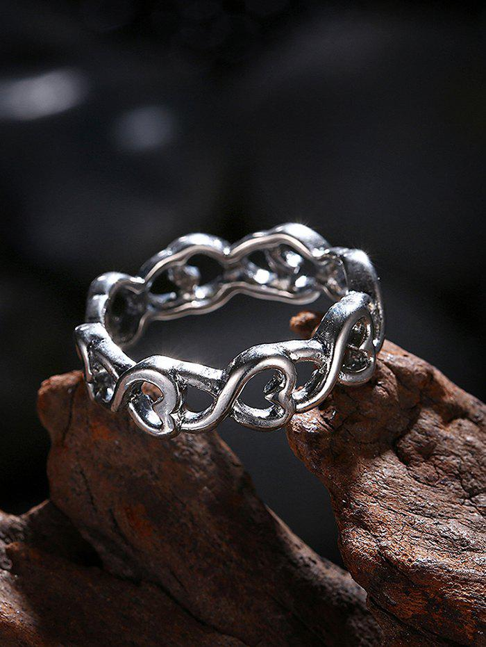 Unique Alloy Heart Finger Ring - SILVER 8