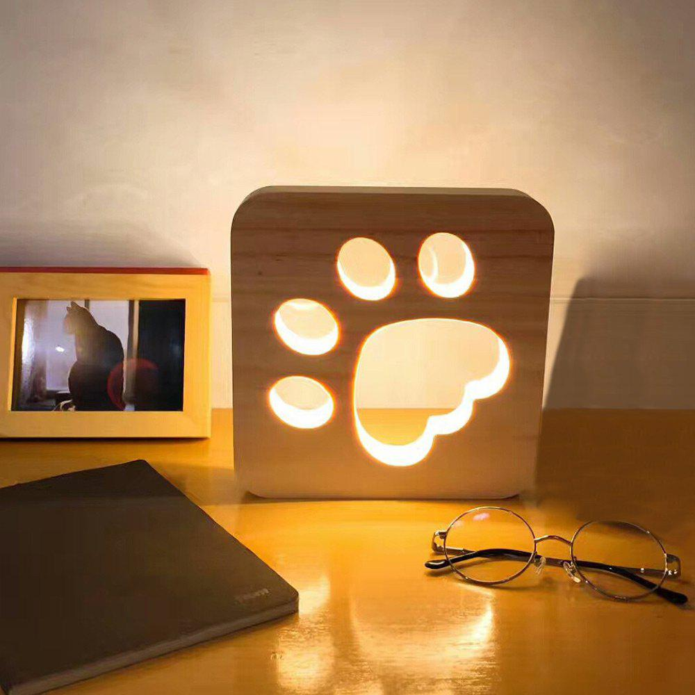 2018 Paw Print Pattern Led Wooden Night Light Wood In Led Night Lights Online Store Best