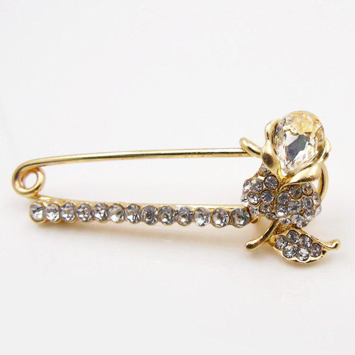 Flower Artificial Diamond Brooch Pin - WHITE