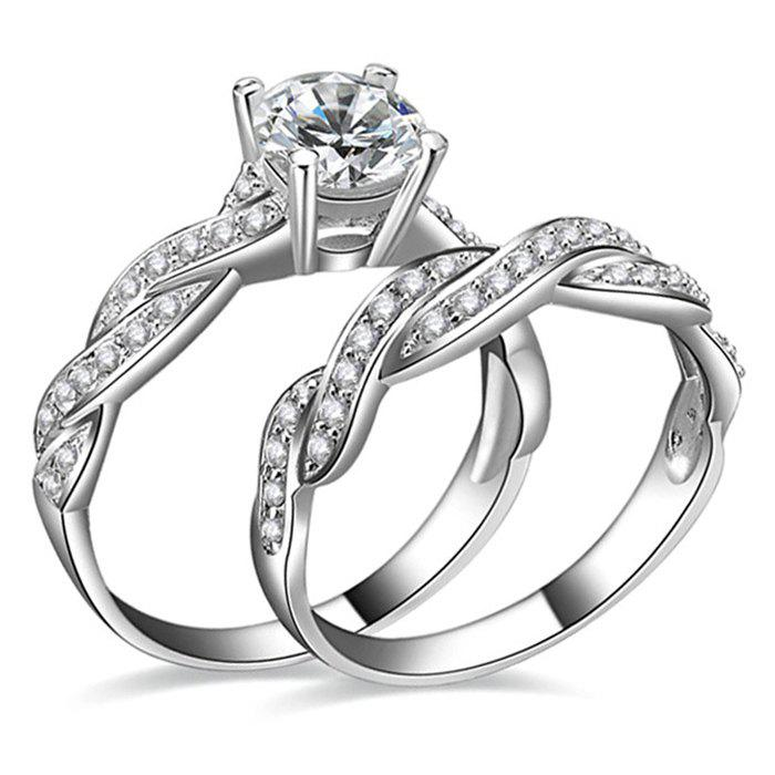Artificial Diamond Couple Rings - SILVER 8