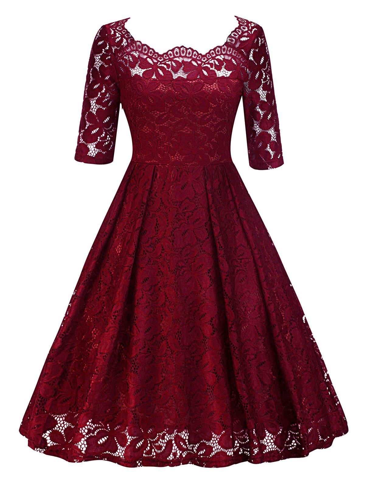 Retro Lace Party Pin Up Dress - WINE RED S