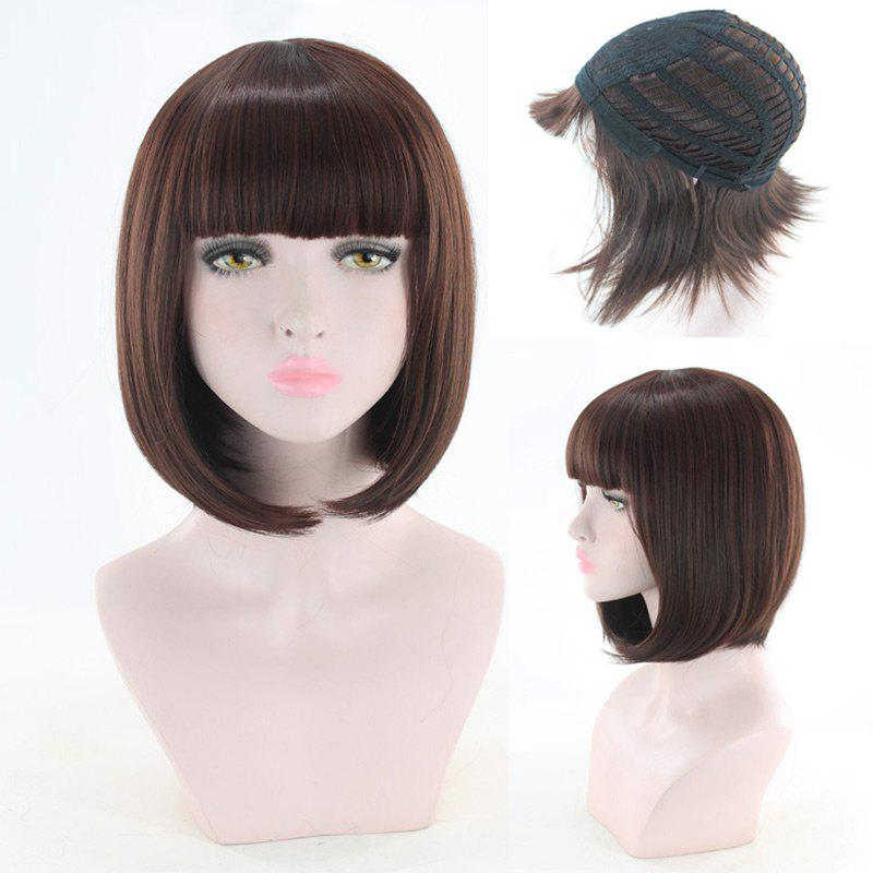 Short Full Bang Straight Bob Synthetic Cosplay Wig - DEEP BROWN