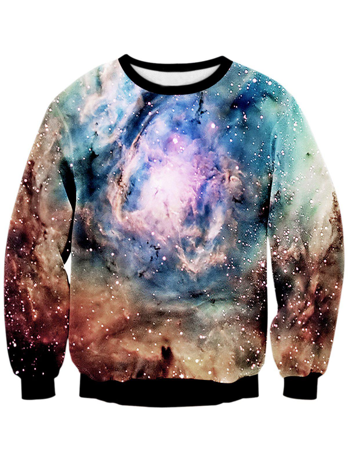 Sweat-shirt 3D Galaxie Digital Imprimé à Col Rond - multicolore XL