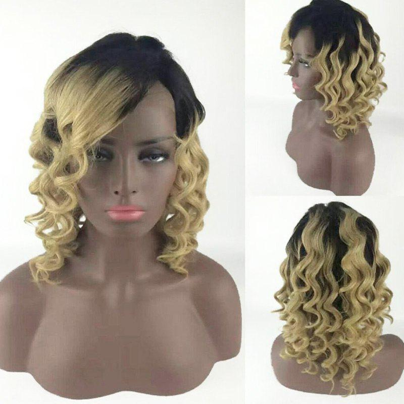 Medium Inclined Bang Body Wave Colormix Synthetic Wig - DRAK BLONDE OMBRE
