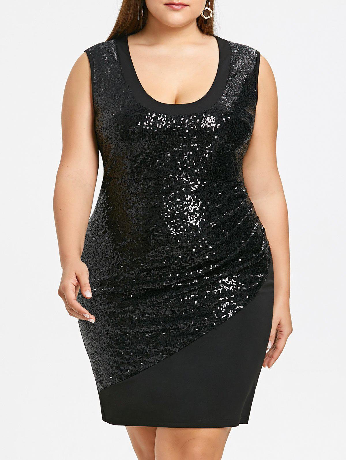 Plus Size Glitter Sequins Sleeveless Sheath Dress jones new york new gray sleeveless women s size 1x plus sheath dress $109