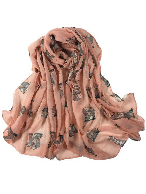 Cute Dancing Fox Decorated Long Shawl Scarf - PINK