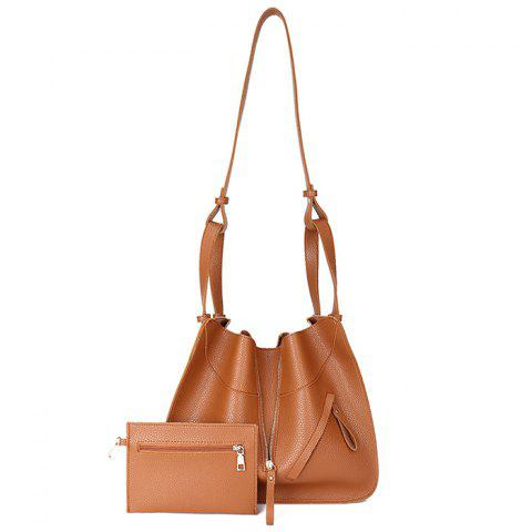 Transformable Faux Leather Shoulder Bag Set - LIGHT BROWN