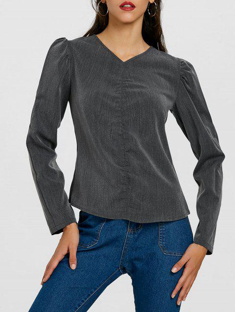 Ruched Puffy Sleeve Blouse - DEEP GRAY XL