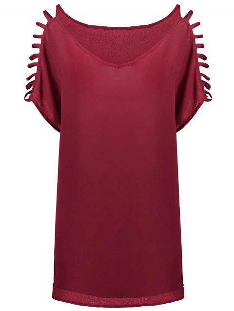 Short Sleeve Ladder Cutout Blouse - WINE RED 2XL