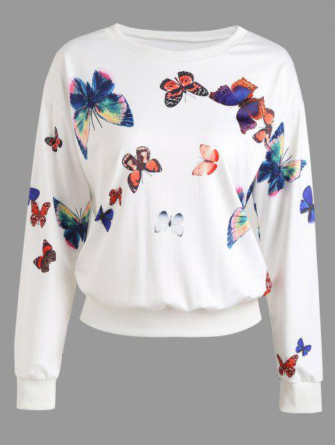 Butterfly Graphic Sweatshirt - WHITE L