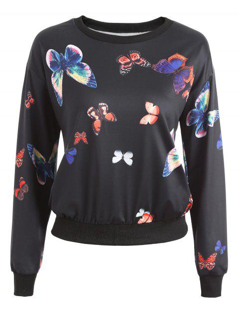 Sweat-shirt graphique papillon - Noir M