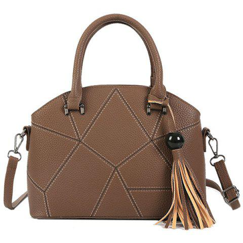 Faux Leather Tassel Stitching Handbag - COFFEE