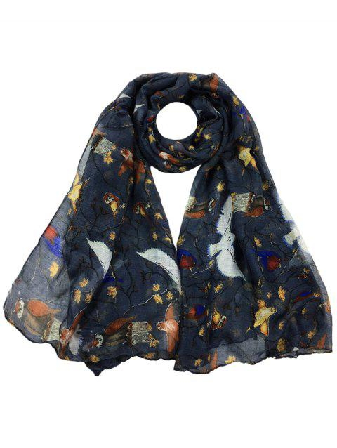 Soft Birds Pattern Embellished Silky Long Scarf - DEEP GRAY