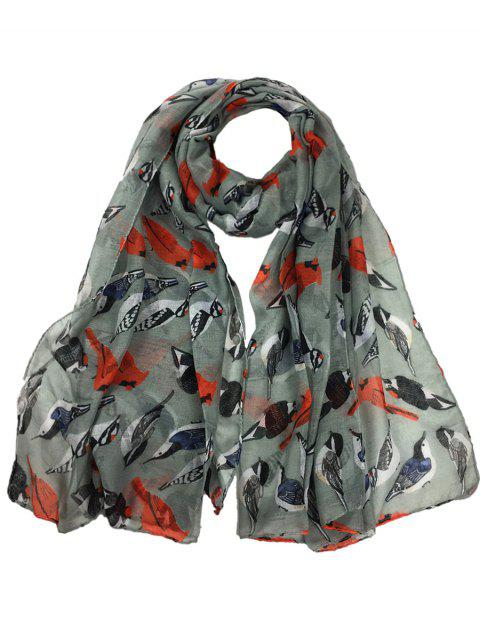 Soft Flying Birds Pattern Embellished Silky Long Scarf - GRAY