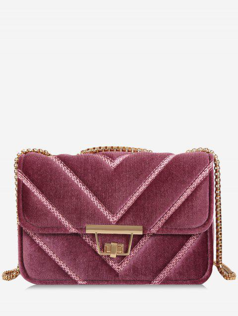 Quilted Stitching Chain Crossbody Bag - PINK