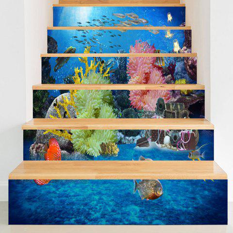 Autocollants d'escalier 3D World Sea Print - Bleu 100*18CM*6PCS