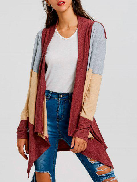 Color Block Striped Cardigan - RED M