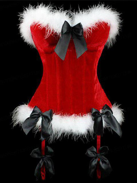 Christmas Velvet Corset Top with Faux Fur Hem - RED S