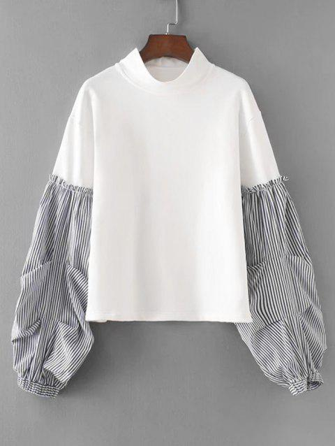 Stripes Panel Lantern Sleeve Sweatshirt - WHITE L