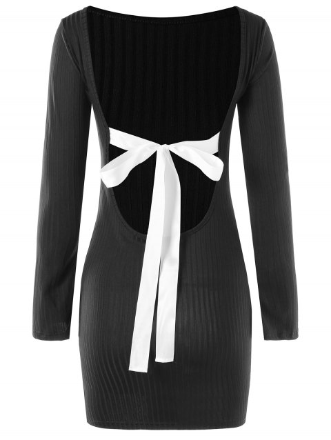 Bowknot Decorated Open Back Dress - BLACK L