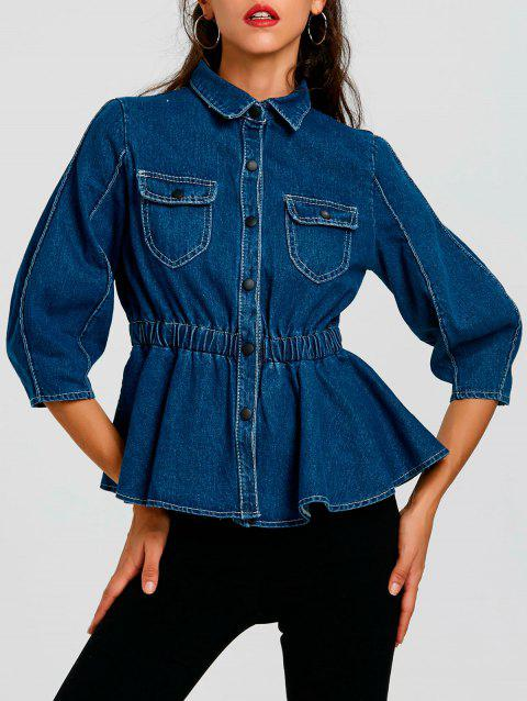 Denim High Waist Button Up Jacket - BLUE XL