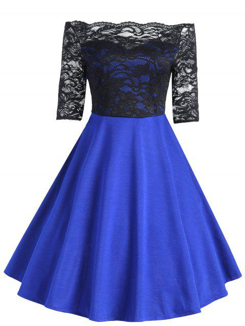 Vintage Lace Insert Off The Shoulder Dress - BLUE L