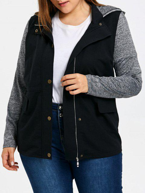 Plus Size Drawstring Hooded Jacket - GRAY 5XL