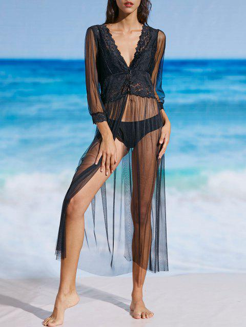 Mesh Lace Sheer Long Cover Up Dress - BLACK S