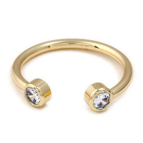 Faux Diamond Metal Cuff Ring - GOLDEN ONE-SIZE