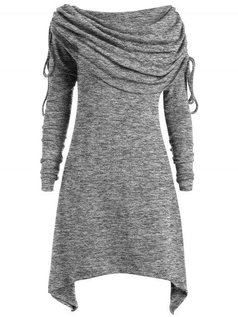 Plus Size Ruched Long Foldover Collar Top - GRAY L