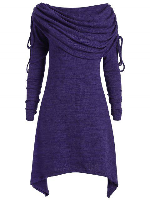 Plus Size Ruched Long Foldover Collar Top - PURPLE L