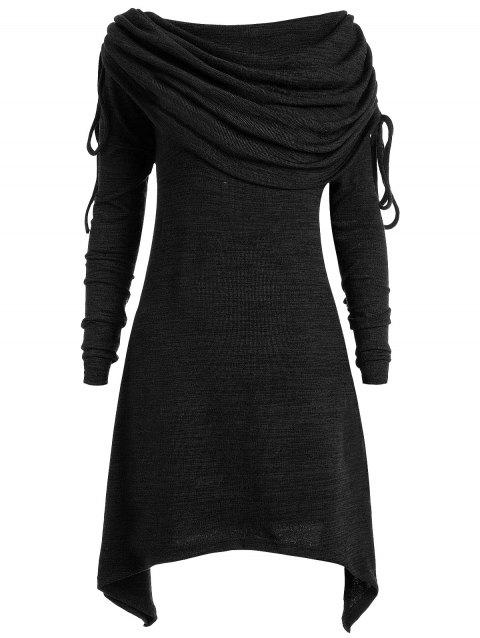 Plus Size Ruched Long Foldover Collar Top - BLACK 3X