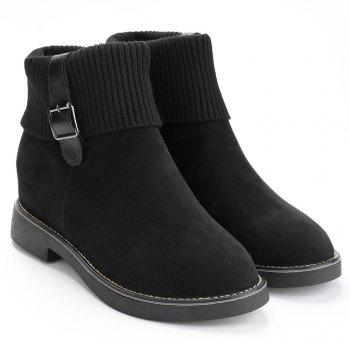 Buckle Strap Flat Heel Sweater Ankle Boots - BLACK 39